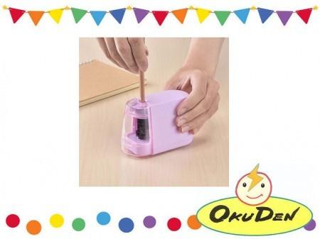 オーム電機 乾電池式 電動えんぴつ削り ピンク 女の子 小学生 鉛筆削り 電動